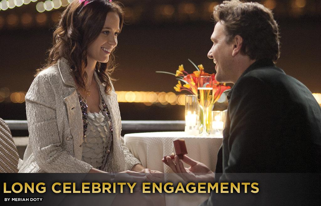 """It is one thing to get engaged and another to plan the wedding and <em>then</em> actually get married. Jason Segel and Emily Blunt play a couple whose wedding plans keep getting stalled in """"The Five-Year Engagement,"""" in theaters this weekend. And just because it happens on the big screen, doesn't mean it ceases to occur in real life. Here are celebrity couples who have taken the long road toward marriage."""