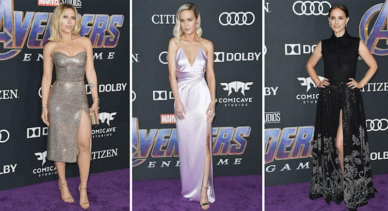 069abd1efbe Brie Larson works thigh high slit at Avengers premiere