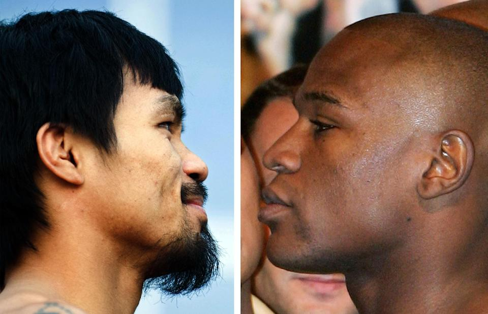 Philippines boxing icon Manny Pacquiao (L) will meet Floyd Mayweather (R) on May 2 in the mega-fight their fans have long clamored for, Mayweather confirmed (AFP Photo/Chris Cozzone, Robyn Beck)