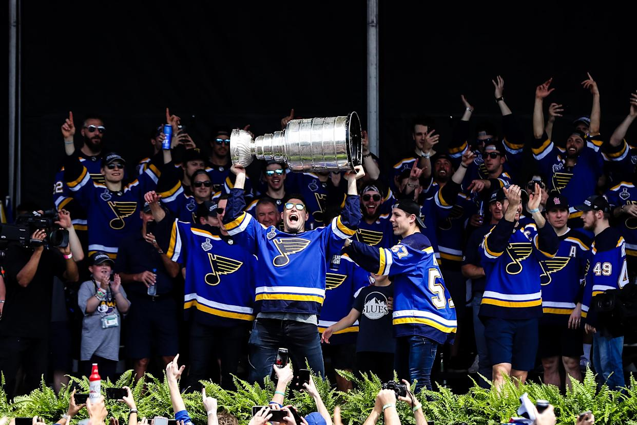 Find St. Louis Blues Stanley Cup gear for under $30 in our Yahoo Fanatics shop. (Photo by Tim Spyers/Icon Sportswire via Getty Images)