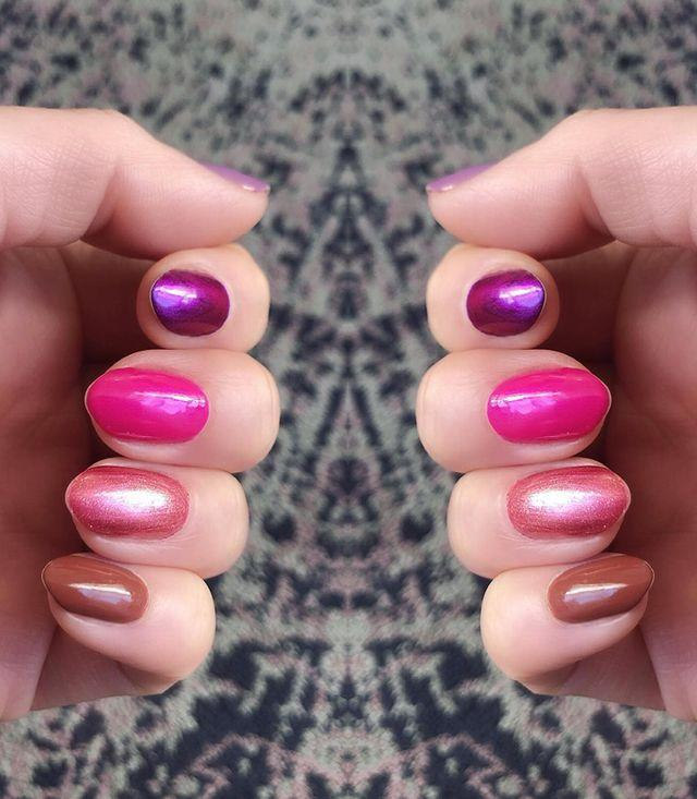 """<p>Add an accent nail in a shade of milk chocolate to an otherwise pink or red manicure for a subtle take on the holiday's color scheme. </p><p><a href=""""https://www.instagram.com/p/B5slgBYFy2N/"""" rel=""""nofollow noopener"""" target=""""_blank"""" data-ylk=""""slk:See the original post on Instagram"""" class=""""link rapid-noclick-resp"""">See the original post on Instagram</a></p>"""