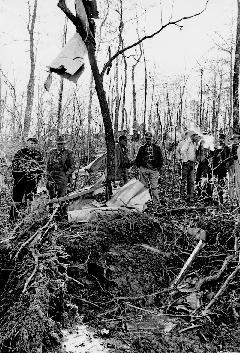 Patsy Cline died at age 30 in an airplane crash in 1963. The steep, wooded hillside was smooth, until cratered by a single-engine plane carrying four Grand Ole Opry personalities March 6, 1963. The light plane crashed near Camden, Tenn. Cline, Cowboy Copas, 49, Hawkshaw Hawkins, 43, and pilot Randy Hughes, 35, were killed.