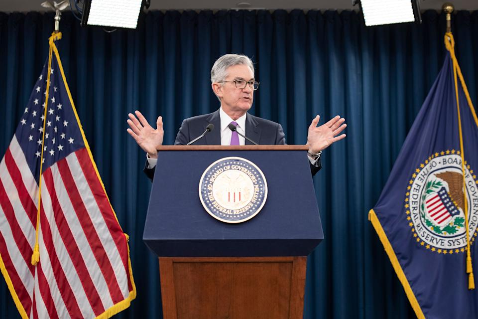 """Federal Reserve Chairman Jerome Powell speaks at a news conference, Wednesday, Jan. 30, 2019, in Washington. The Federal Reserve is keeping its key interest rate unchanged and promising to be """"patient."""" It is signaling it could leave rates alone in coming months given muted inflation. (AP Photo/Alex Brandon)"""