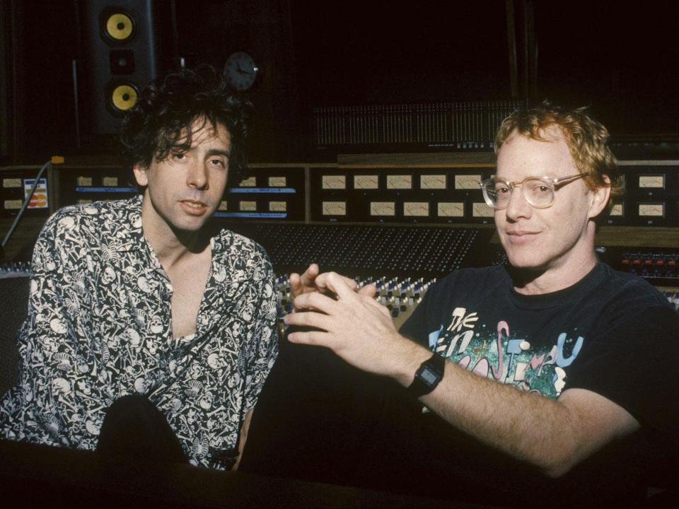 Elfman with filmmaker and frequent collaborator Tim Burton in 1993 (Touchstone/Kobal/Shutterstock)