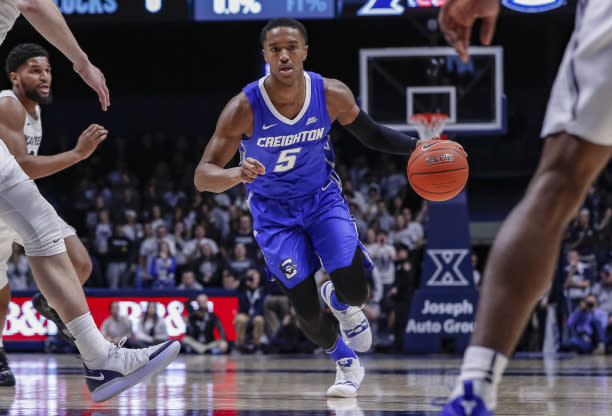 CINCINNATI, OH – FEBRUARY 13: Ty-Shon Alexander #5 of the Creighton Bluejays brings the ball up court during the game against the Xavier Musketeers at Cintas Center on February 13, 2019 in Cincinnati, Ohio. (Photo by Michael Hickey/Getty Images)