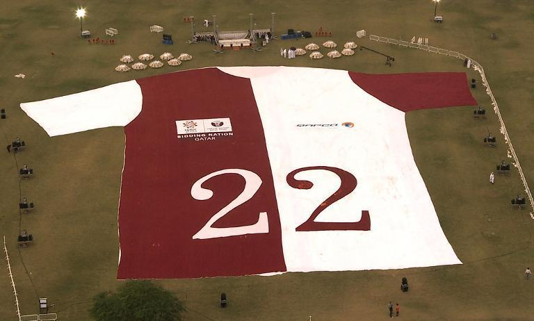 A handout picture from the media office of the Qatar 2022 bid shows an aerial picture of the largest jersey in the world in Doha on November 24, 2010