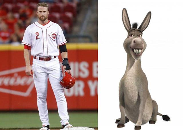 Zack Cozart will get a donkey from Joey Votto if he makes the All-Star team. (AP)