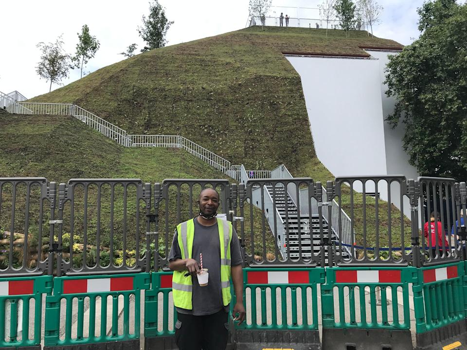Scaffolder Mo Martins stands in front of Marble Arch Mound. (Rory Sullivan)