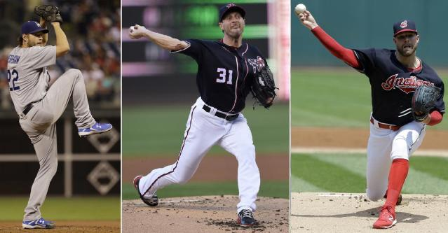 Clayton Kershaw, Max Scherzer and Corey Kluber (left-to-right) head up an impressive list of opening day starters. (AP Photos)