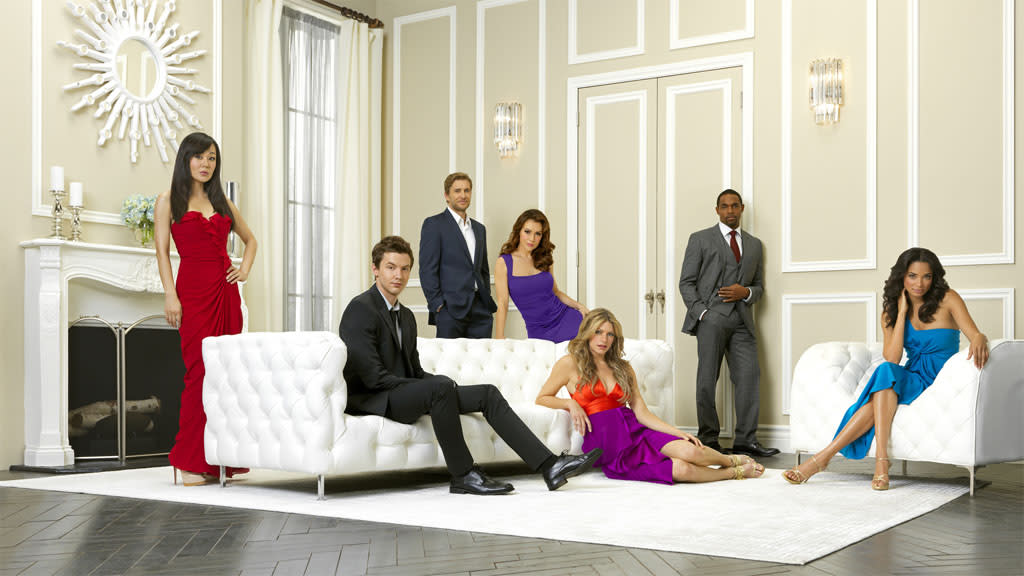 "ABC's ""Mistresses"" stars Yunjin Kim as Karen Kim, Erik Stocklin as Sam Grey, Brett Tucker as Harry Davis, Alyssa Milano as Savannah (""Savi"") Davis, Jes Macallan as Josslyn Carver, Jason George as Dominic Taylor and Rochelle Aytes as April Malloy."