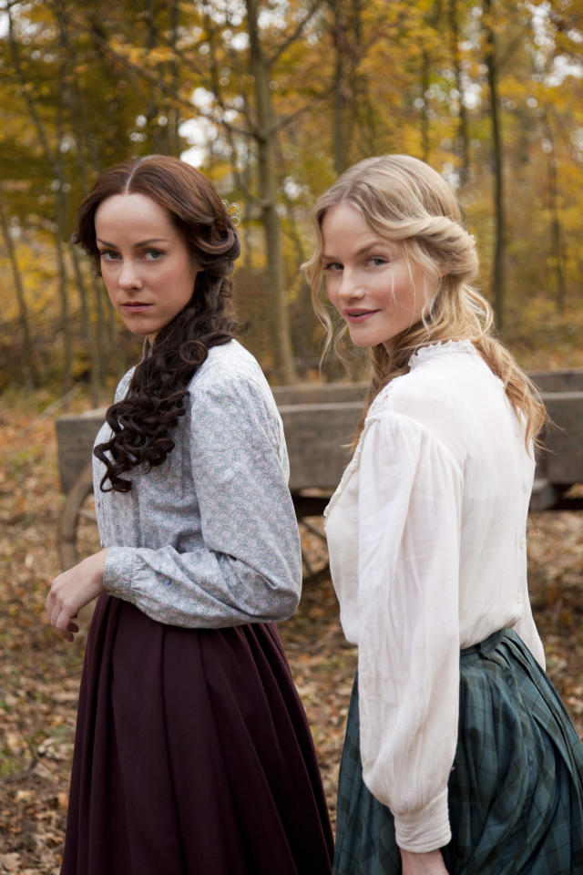 "Jena Malone, left, plays Nancy McCoy and Lindsay Pulsipher plays Roseanna McCoy in ""Hatfields & McCoys."" (History Channel)"