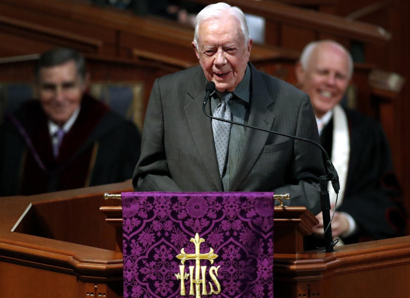 FILE- In this March 27, 2018 file photo, former President Jimmy Carter speaks during a funeral service for former and former Georgia Gov. Zell Miller, in Atlanta. Carter is now the longest-living president in American history. The 39th president on Friday, March 19, 2019, reached the age of 94 years, 172 days - one day beyond the lifespan of George H.W. Bush, who died in November. (AP Photo/John Bazemore, File)