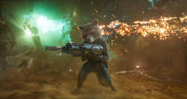 <p>The teams weapons expert, Rocket Raccoon comes equipped with a large blaster. (Photo: Marvel) </p>