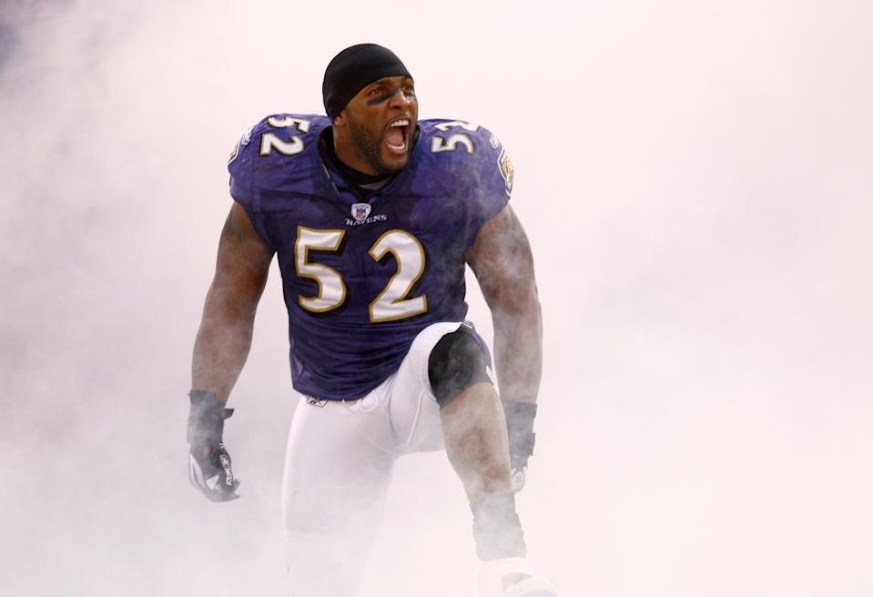 BALTIMORE, MD - JANUARY 13: Linebacker Ray Lewis #52 of the Baltimore Ravens reacts to the crowd while being introduced before a game against the Indianapolis Colts during the AFC Divisional playoff game on January 13, 2007 at M&T Bank Stadium in Baltimore, Maryland. The Colts won 15-6. (Photo by Rob Tringali/Sportschrome/Getty Images)