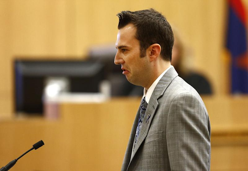 "Steven Alexander, brother of murder victim Travis Alexander, makes his ""victim impact statement"" to the jury on Thursday, May 16, 2013, during the penalty phase of the Jodi Arias trial at Maricopa County Superior Court in Phoenix. Jodi Arias was convicted of first-degree murder in the stabbing and shooting to death of Travis Alexander, 30, in his suburban Phoenix home in June 2008. (AP Photo/The Arizona Republic, Rob Schumacher, Pool)"