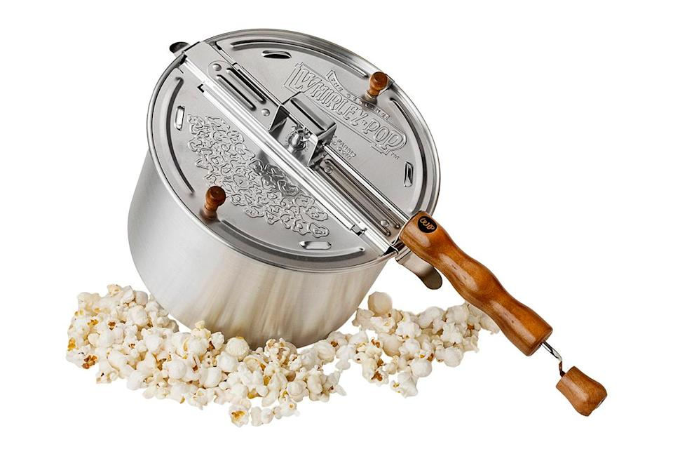 "<p>""The Whirley Pop popcorn maker is the best one on the market. It's fun because it has a hand crank on it, so kids can stand with an adult and spin out the kernels to make the perfect popcorn. I also like to use the special movie theater popcorn, which I think works best and comes with the salt and oil and smells great when it's cooking. Kids get so excited every time you make it.""</p> <p><strong>Buy It!</strong> Stovetop popper; $24, <a href=""https://www.whirleypopshop.com/products/whirley-pop-stovetop-popcorn-popper-original-silver-2"" rel=""nofollow noopener"" target=""_blank"" data-ylk=""slk:whirleypopshop.com"" class=""link rapid-noclick-resp"">whirleypopshop.com</a> </p>"