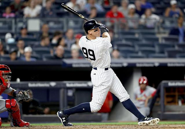Slugger Aaron Judge hit 10 home runs in April for the Yankees. (Getty Images)