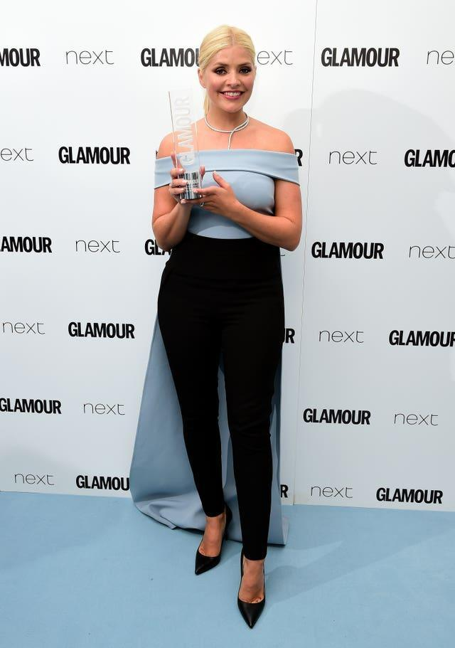 Holly Willoughby with the TV Personality Award in the press room at the Glamour Women of the Year Awards 2016