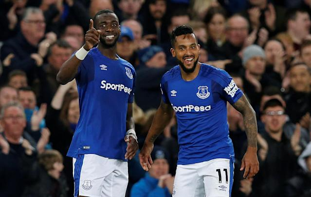 "Soccer Football - Premier League - Everton v Newcastle United - Goodison Park, Liverpool, Britain - April 23, 2018 Everton's Theo Walcott celebrates scoring their first goal with Yannick Bolasie REUTERS/Andrew Yates EDITORIAL USE ONLY. No use with unauthorized audio, video, data, fixture lists, club/league logos or ""live"" services. Online in-match use limited to 75 images, no video emulation. No use in betting, games or single club/league/player publications. Please contact your account representative for further details."