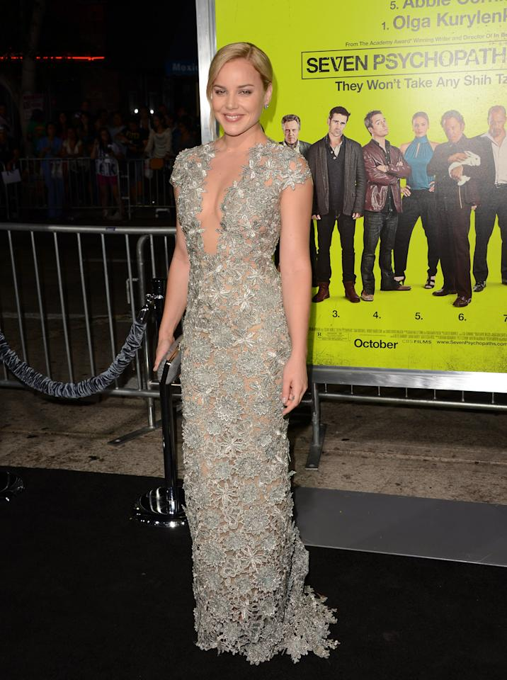"""WESTWOOD, CA - OCTOBER 01:  Actress Abbie Cornish arrives at the premiere of CBS Films' """"Seven Psychopaths"""" at Mann Bruin Theatre on October 1, 2012 in Westwood, California.  (Photo by Jason Merritt/Getty Images)"""