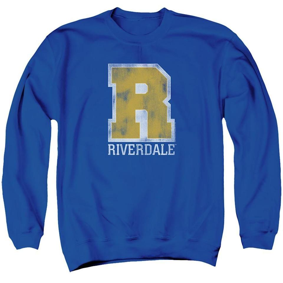 """<p>wbshop.com</p><p><strong>$39.95</strong></p><p><a href=""""https://www.wbshop.com/products/riverdale-varsity-crewneck-sweatshirt?gclid=CjwKCAiAmrOBBhA0EiwArn3mfATThjqcvW9ee3wQn3PwMIMbWfrO1ECtgO0OGjN7Xp4xrn5WguV-PRoCkooQAvD_BwE"""" rel=""""nofollow noopener"""" target=""""_blank"""" data-ylk=""""slk:SHOP NOW"""" class=""""link rapid-noclick-resp"""">SHOP NOW</a></p><p>This one's for the people who prefer pullovers to jackets.</p>"""