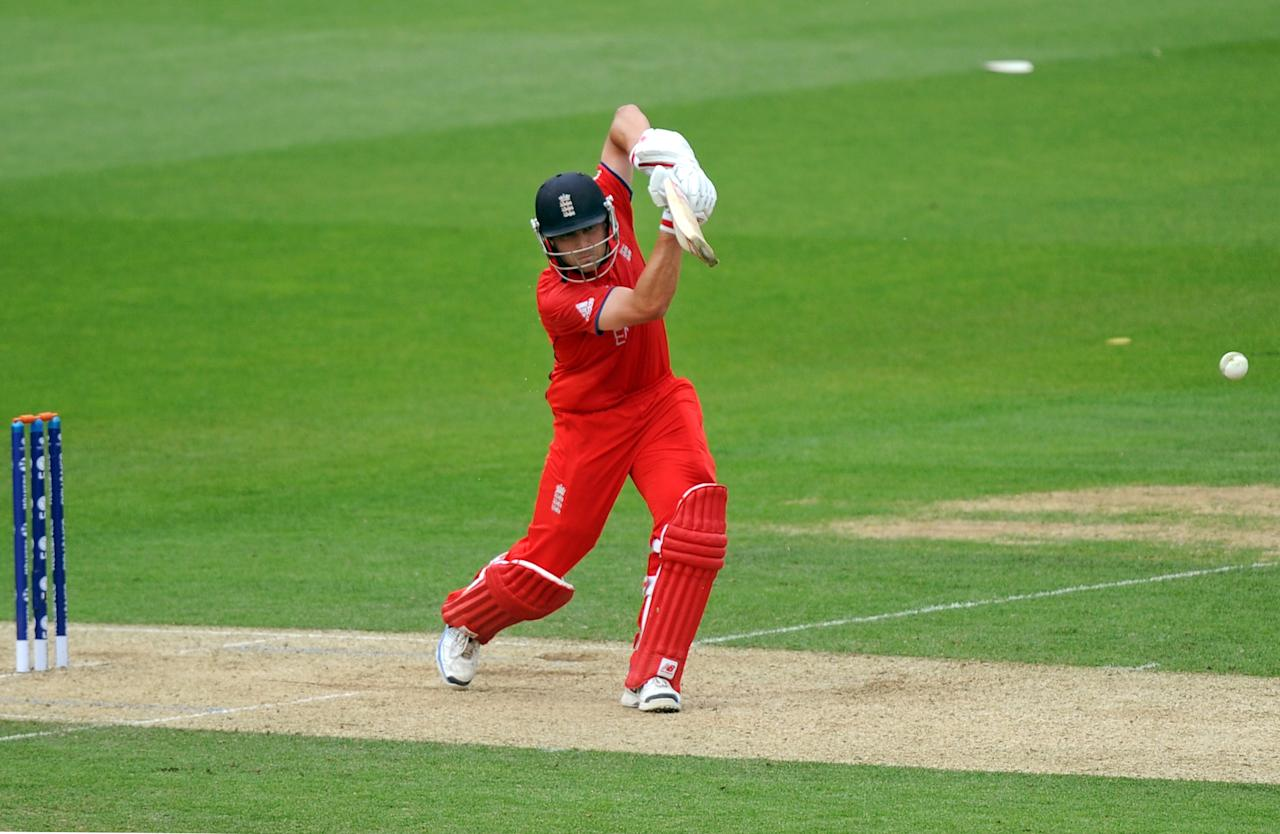 England's Jonathan Trott bats during the ICC Champions Trophy, Semi Final at the Oval, London.