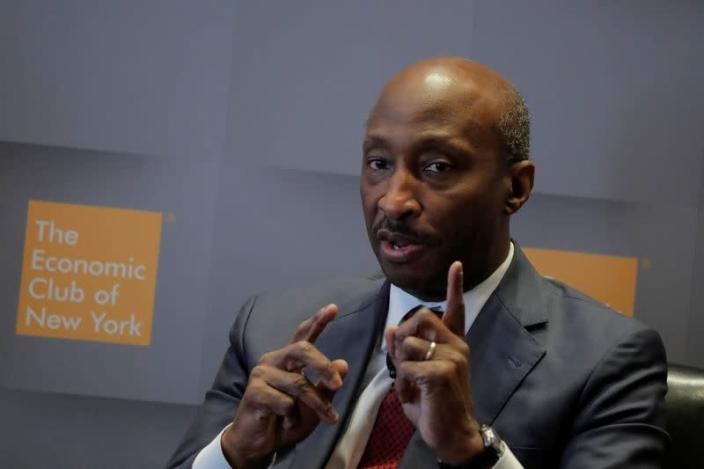 FILE PHOTO: Ken Frazier, Chairman and CEO, Merck & Co., speaks during a meeting of the Economic Club of New York in New York