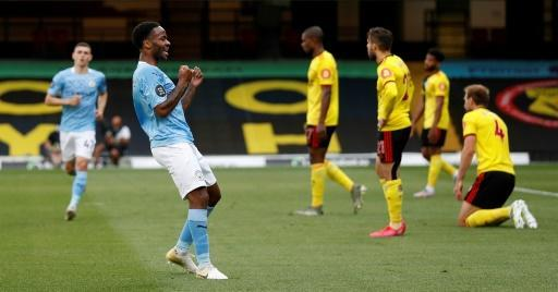 Raheem Sterling (second left) scored twice for Manchester City