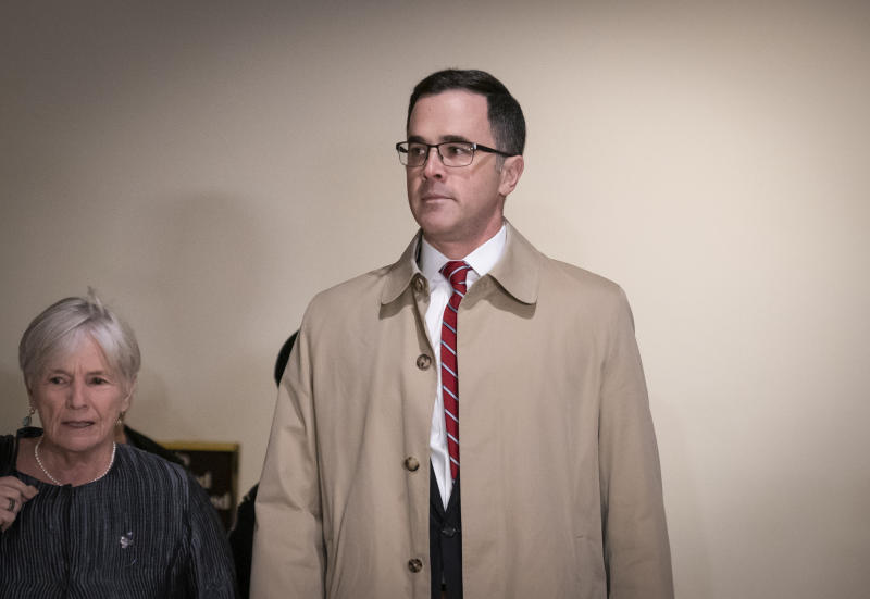 Former top national security adviser to President Donald Trump, Tim Morrison, arrives for a closed door meeting to testify as part of the House impeachment inquiry into President Donald Trump on Capitol Hill in Washington, Thursday, Oct. 31, 2019.  (AP Photo/J. Scott Applewhite)