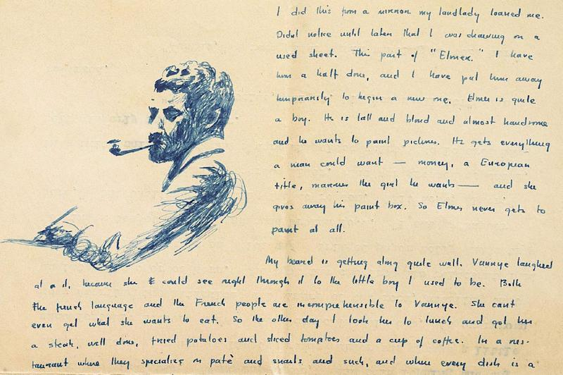 This undated photo provided by Sotheby's shows a details of a letter William Faulkner wrote to his mother from Paris in 1925 with a drawing of himself with a beard, and describing the difficulty of ordering a meal in a restaurant. Manuscripts and personal letters of the late author, whose original writings are a rarity in the literary marketplace, can be viewed Wednesday, April 10, 2013, at Sotheby's in New York - an event to whet the appetites of scholars ahead of a June 11 auction. (AP Photo/Sotheby's)