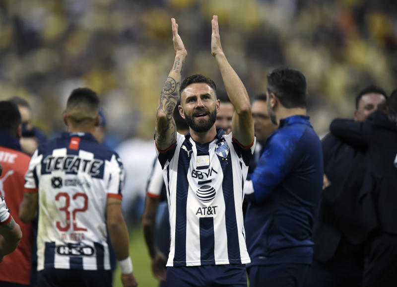 Monterrey's Miguel Layun celebrates after winning the Mexican Apertura Tournament final against America, at the Azteca stadium in Mexico City, on December 29, 2019. (Photo by ALFREDO ESTRELLA / AFP) (Photo by ALFREDO ESTRELLA/AFP via Getty Images)