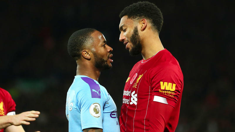 Raheem Sterling and Joe Gomez during the Premier League match between Liverpool FC and Manchester City at Anfield on November 10, 2019 in Liverpool, United Kingdom. (Photo by Robbie Jay Barratt - AMA/Getty Images)