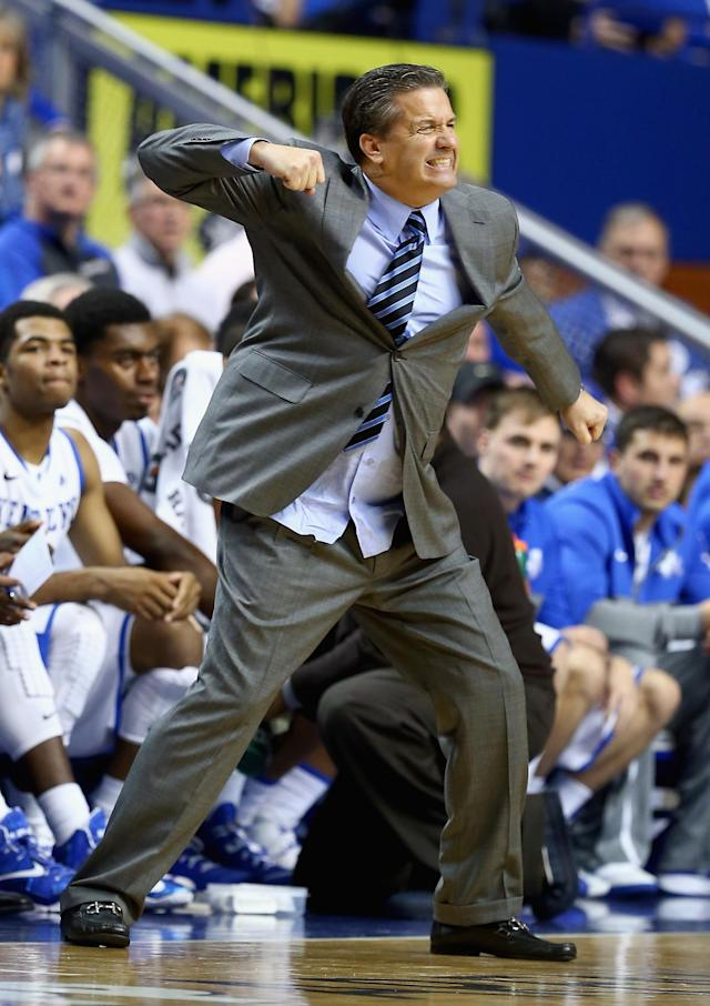 LEXINGTON, KY - NOVEMBER 27: John Calipari the head coach of the Kentucky Wildcats reacts to a bad play during the game against the Eastern Michigan Eagles at Rupp Arena on November 27, 2013 in Lexington, Kentucky. (Photo by Andy Lyons/Getty Images)