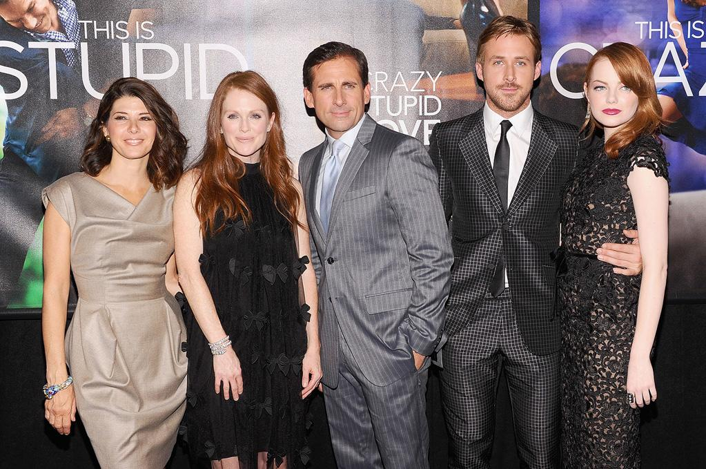"<a href=""http://movies.yahoo.com/movie/contributor/1800024659"">Marisa Tomei</a>, <a href=""http://movies.yahoo.com/movie/contributor/1800020233"">Julianne Moore</a>, <a href=""http://movies.yahoo.com/movie/contributor/1804514078"">Steve Carell</a>, <a href=""http://movies.yahoo.com/movie/contributor/1804035474"">Ryan Gosling</a> and <a href=""http://movies.yahoo.com/movie/contributor/1809635883"">Emma Stone</a> at the New York City premiere of <a href=""http://movies.yahoo.com/movie/1810157025/info"">Crazy, Stupid, Love</a> on July 19, 2011."