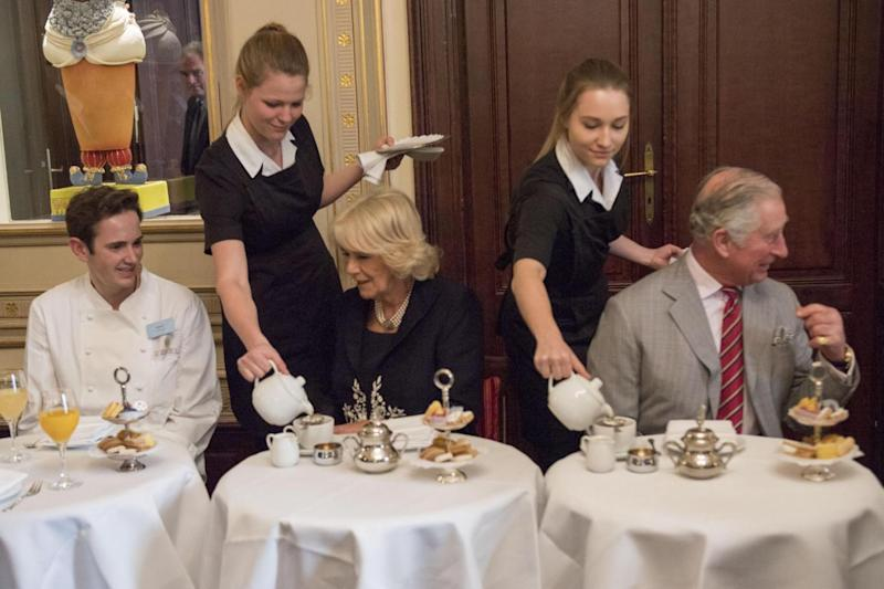 Charles and Camilla sit down to tea at Cafe Demel in Vienna (Getty Images)