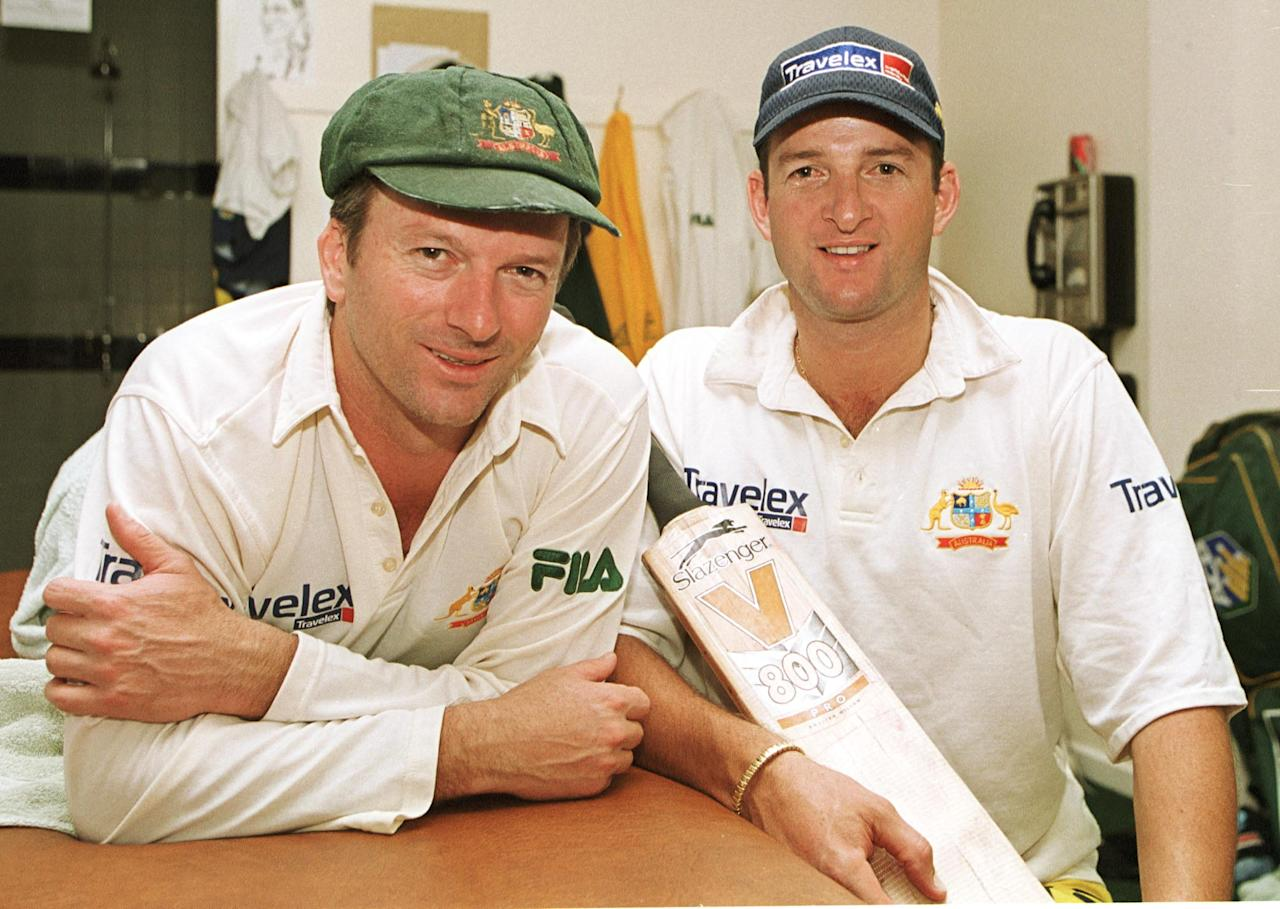 24 Aug 2001:  Steve and Mark Waugh of Australia reflect on their centuries, after the 2nd day of the 5th Ashes Test between England and Australia at The AMP Oval, London. Mandatory Credit: Hamish Blair/ALLSPORT