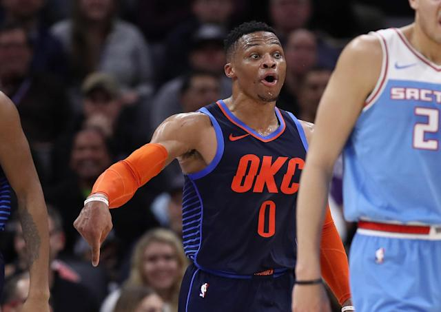 Russell Westbrook didn't just let his playing do the talking against De'Aaron Fox. (Photo by Ezra Shaw/Getty Images)