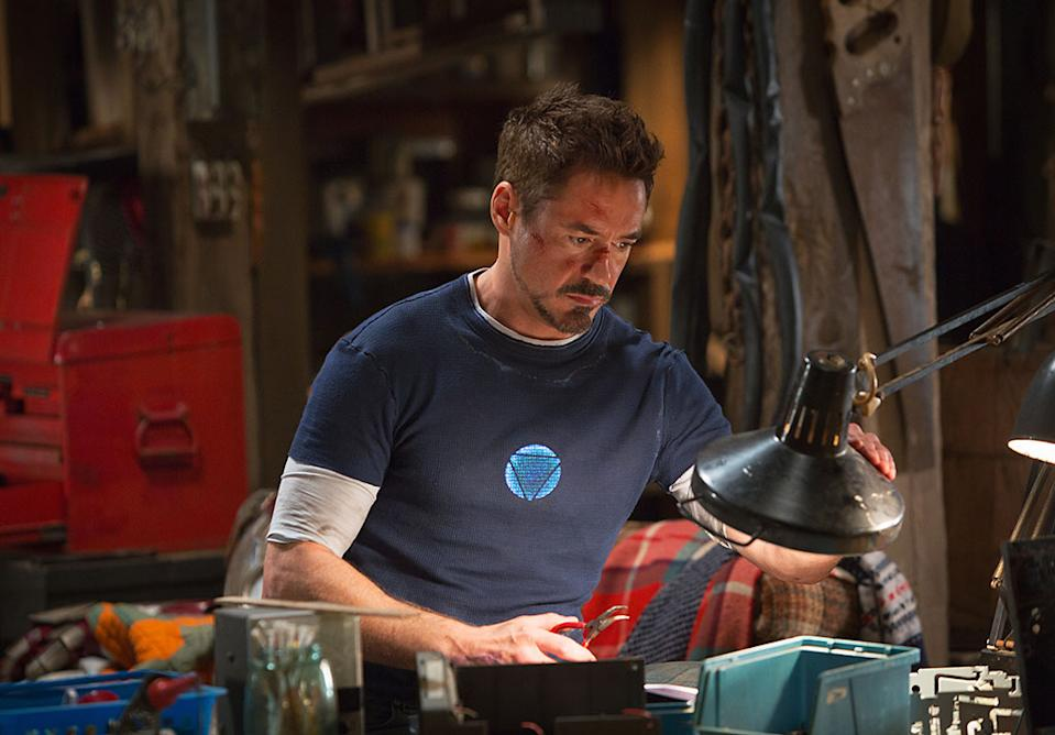 "Robert Downey Jr. in Marvel Studios' ""Iron Man 3"" - 2013<br>WATCH: <a href=""http://movies.yahoo.com/blogs/movie-talk/exclusive-iron-man-3-trailer-shows-tony-stark-164716198.html"" data-ylk=""slk:Exclusive 'Iron Man 3' trailer;outcm:mb_qualified_link;_E:mb_qualified_link;ct:story;"" class=""link rapid-noclick-resp yahoo-link"">Exclusive 'Iron Man 3' trailer</a>"