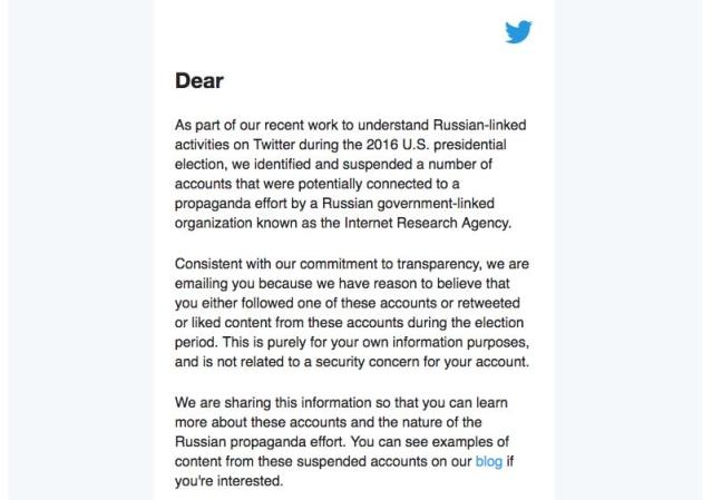 Twitter will tell you if you interacted with Russian bots prior to the 2016 election, but it's not telling you the names of those profile aacounts