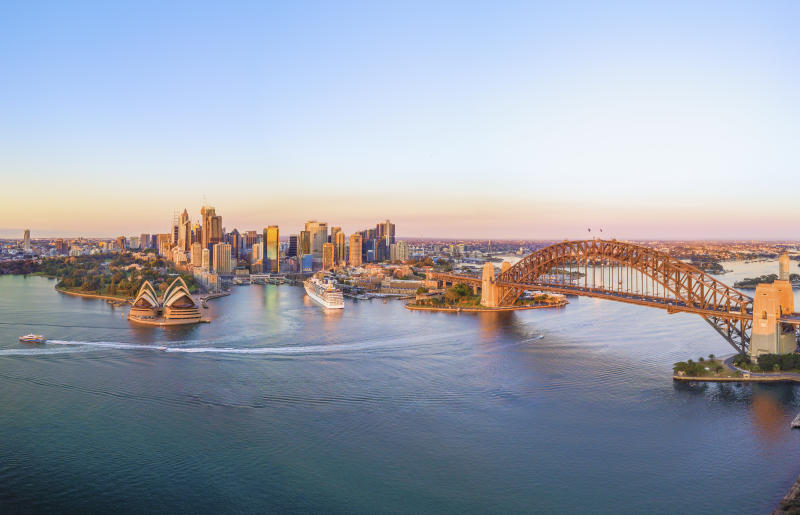 Aerial Panoramic View of Beautiful Sunrise at Sydney City Skyline