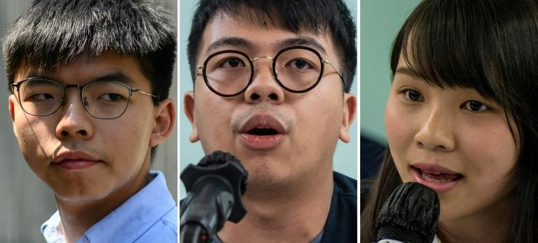 Joshua Wong (L) was handed 13.5 months in jail, Ivan Lam (C) 10 months and Agnes Chow (R) seven months for taking part in the massive pro-democracy protests that convulsed Hong Kong for months in 2019