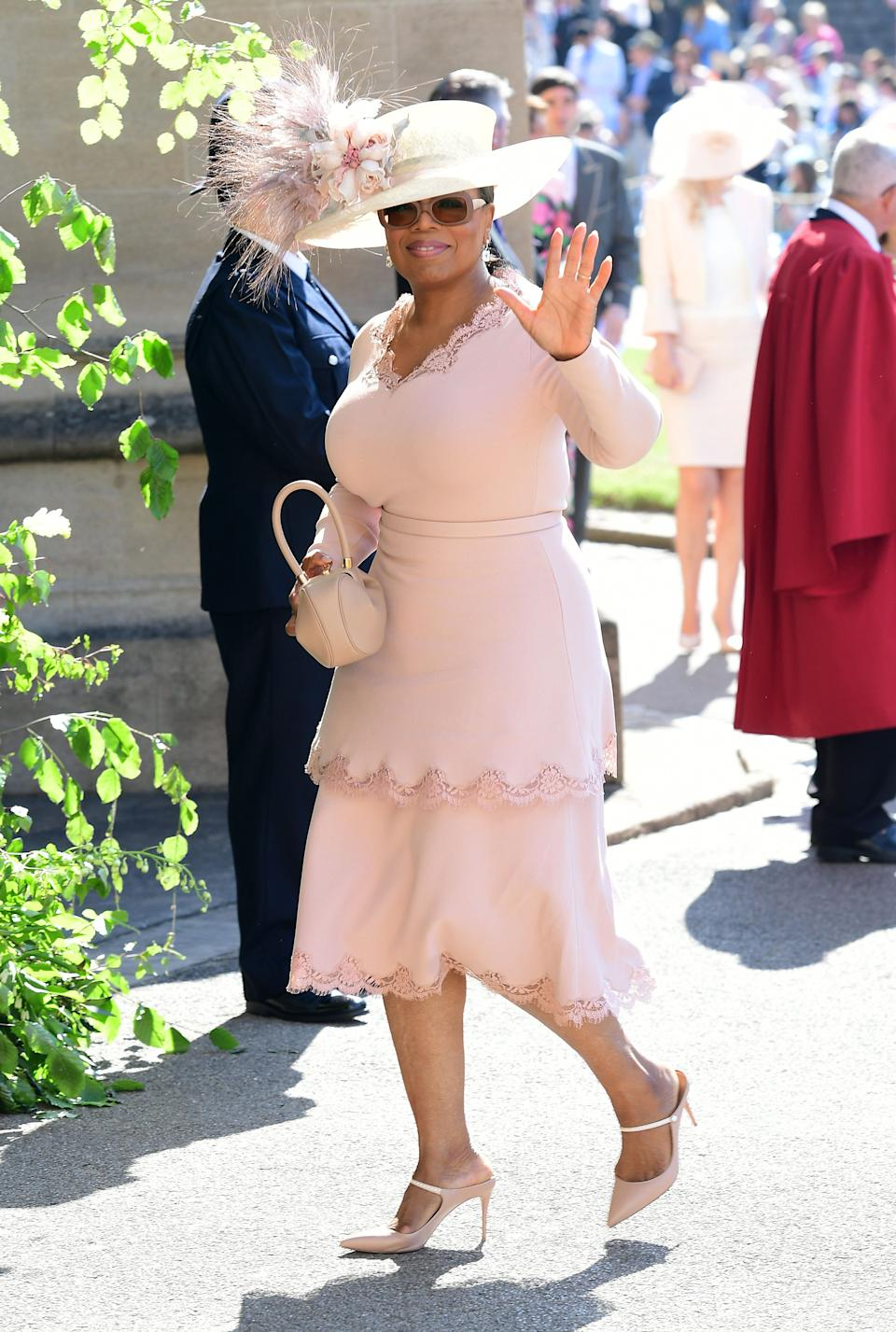 Oprah Winfrey arrives at St George's Chapel at Windsor Castle for the wedding of Meghan Markle and Prince Harry. (Photo: PA Wire/PA Images)