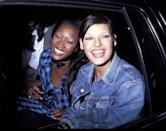 <p>Linda and Naomi wear denim and plaid for an Elite Model Party<span>, 1992</span></p>