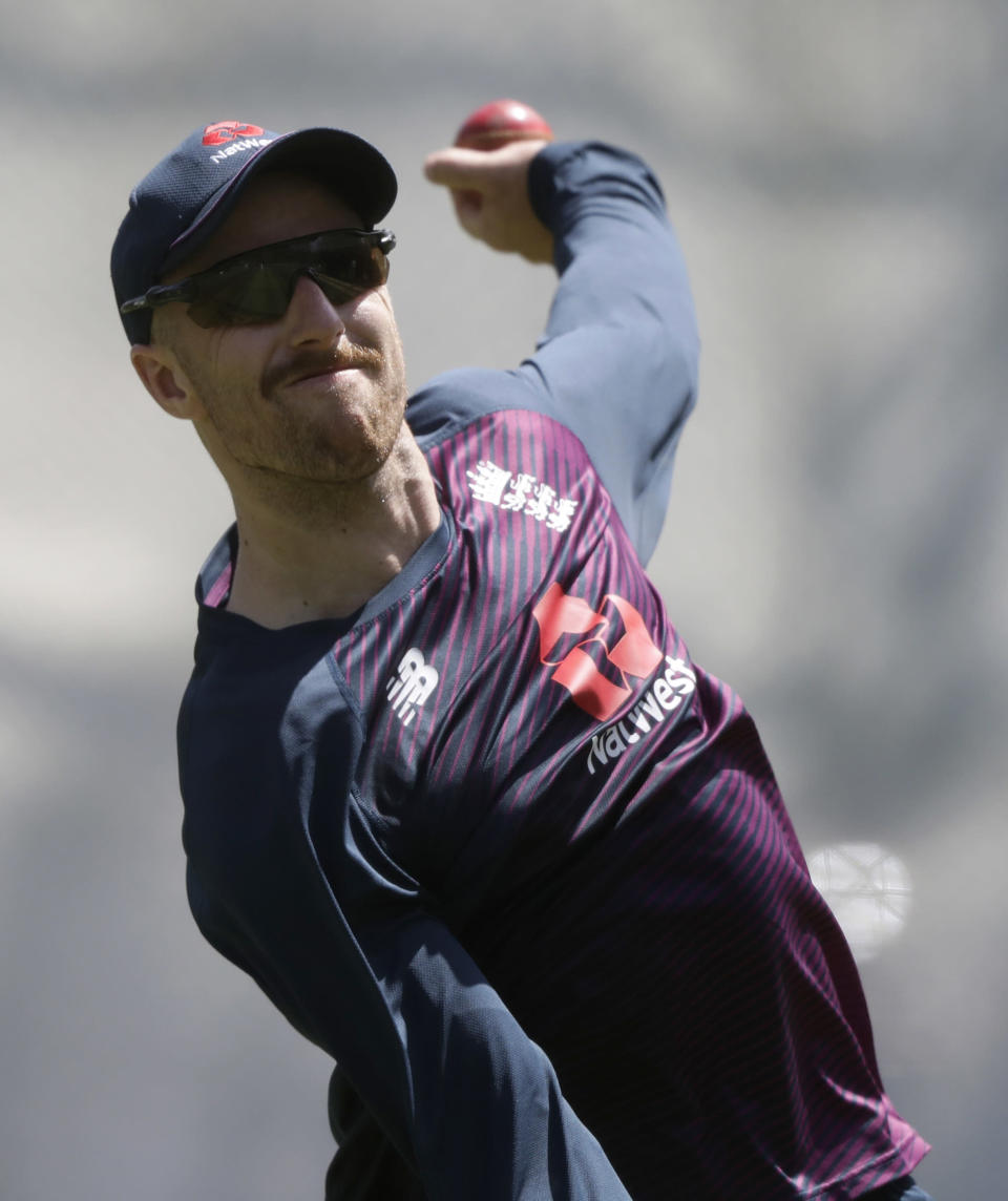 FILE - In this file photo dated Wednesday, Nov. 27, 2019, England's Jack Leach bowls during a training session ahead of the second cricket test between England and New Zealand at Seddon Park in Hamilton, New Zealand. A four-match test series between England and India begins Friday Feb. 5, 2021, with England's spin bowlers including Leach facing off against an intimidating Indian batting lineup featuring Virat Kohli, who is available again. (AP Photo/Mark Baker, FILE)