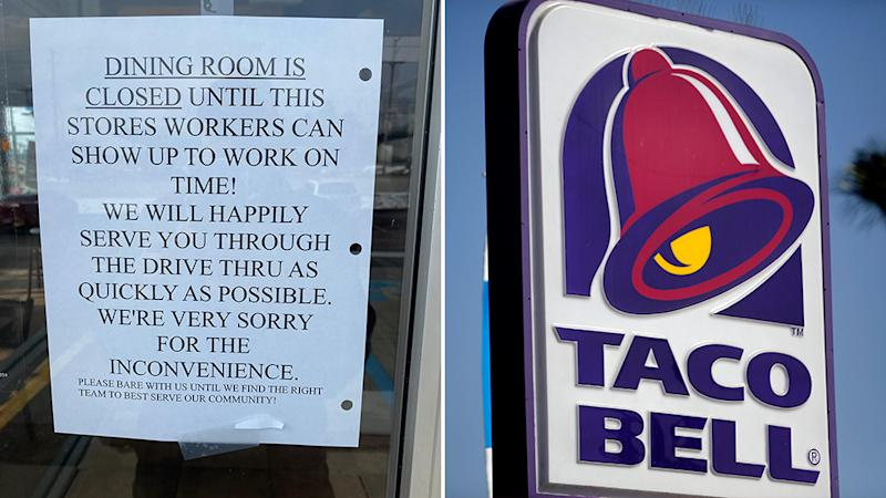 A Taco Bell store was forced to apologise after a sign was posted, calling out workers who neglected to show up on time.