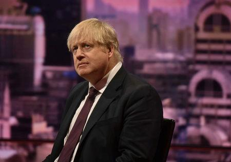 Britain's Foreign Secretary Boris Johnson is seen appearing on the BBC's Andrew Marr Show in this photograph received via the BBC in London, Britain March 18, 2018. Jeff Overs/BBC/Handout via REUTERS