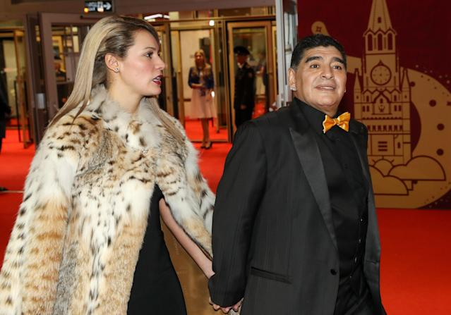 Rocio Oliva and Diego Maradona attend the World Cup Final Draw in Moscow. (Photo: Getty Images)