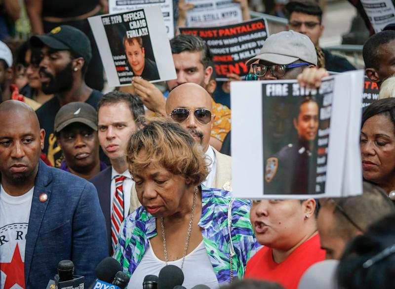 Gwen Carr, the mother of chokehold victim Eric Garner, listens during a news conference after NYPD Commissioner James O'Neill announced his decision to fire officer Daniel Pantaleo for Garner's 2014 death.