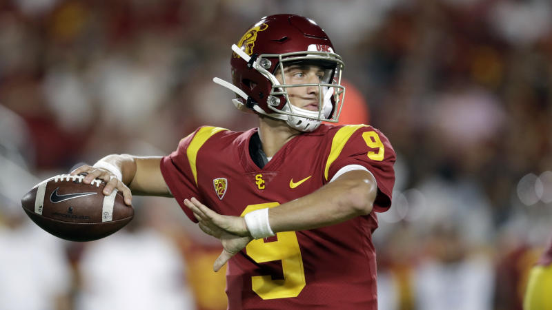 Southern California quarterback Kedon Slovis (9) throws against Stanford during the first half of an NCAA college football game Saturday, Sept. 7, 2019, in Los Angeles. (AP Photo/Marcio Jose Sanchez)