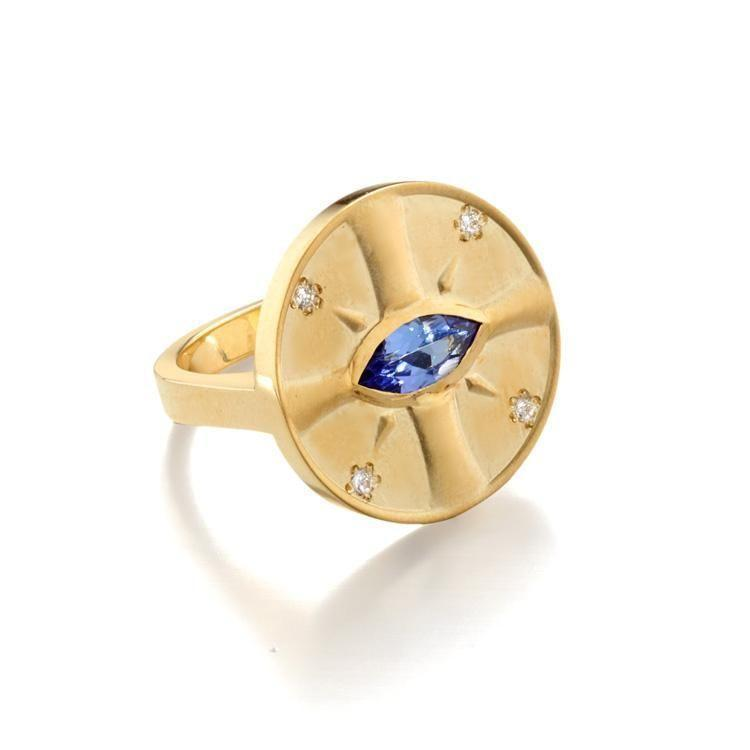 "<p><strong>Elizabeth Moore</strong></p><p>elizabethmoore.com</p><p><strong>$2980.00</strong></p><p><a href=""https://elizabethmoore.com/collections/rings/products/eye-of-the-sun-tanzanite-ring"" rel=""nofollow noopener"" target=""_blank"" data-ylk=""slk:Shop Now"" class=""link rapid-noclick-resp"">Shop Now</a></p><p>A place in the sun. </p>"